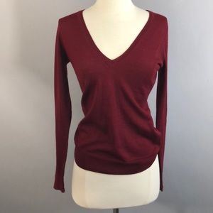 Slinky Red Wine V-Neck Sweater